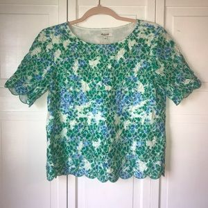 Madewell Short Sleeve Scalloped Lace Top, Small